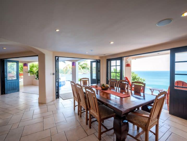 Dining room table and ocean view